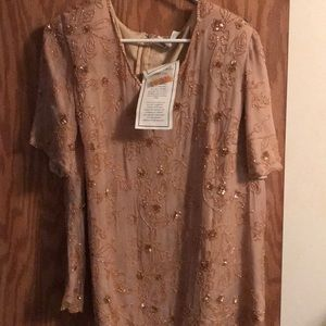 Tan sequined blouse